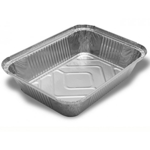 Aluminum rectangular food container, 1000 ml - package of 10 food packages