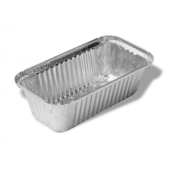 Aluminum rectangular food container, 1500 ml - pack of 10 with lid