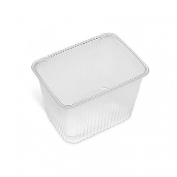 Rectangular clear plastic food container, 2000 cc - pack of 10 food packages
