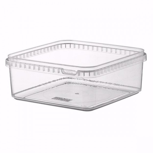 Transparent rectangular plastic food container, 2000 cc - package of 5 food packages