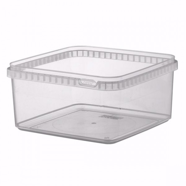 Transparent rectangular plastic food container, 2500 ml - pack of 5 food packages