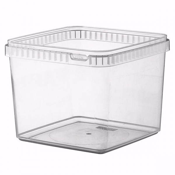 Transparent rectangular plastic food container, 4000 cc - pack of 3 food packages