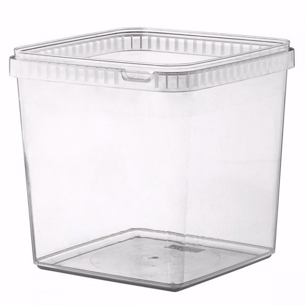 Transparent rectangular plastic food container, 5000 cc - pack of 3 food packages