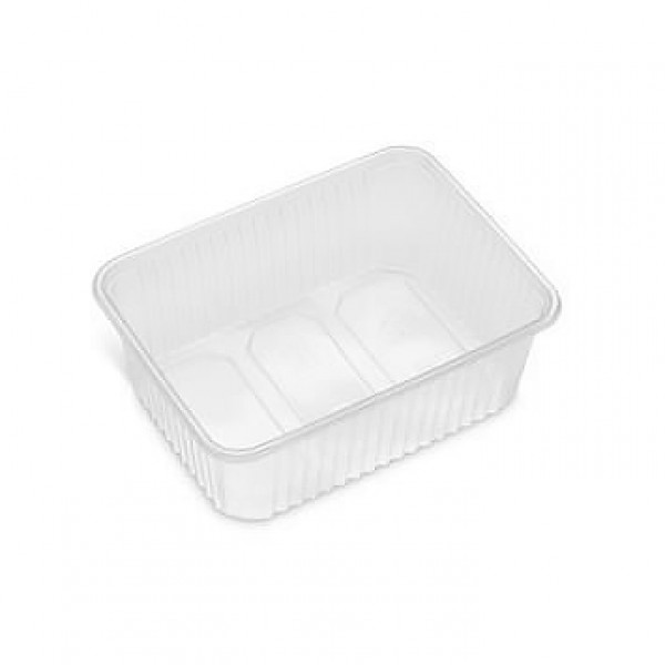Rectangular clear plastic food container, 1000 cc - pack of 10 food packages