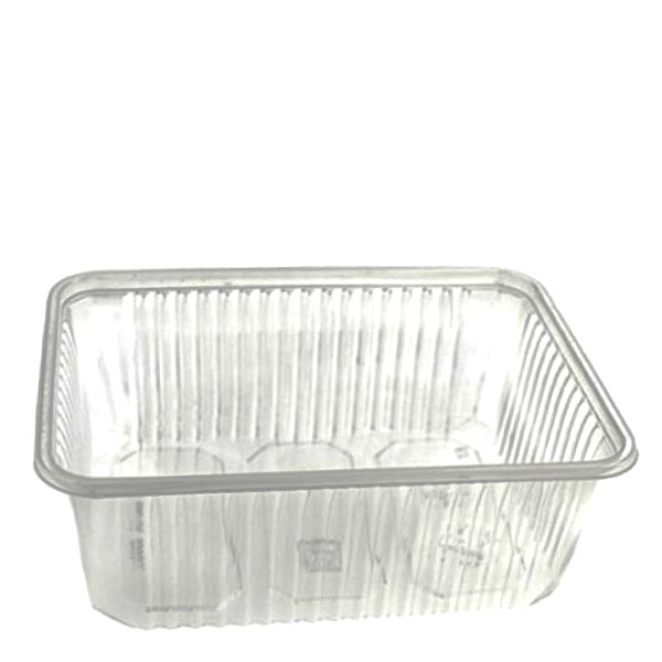 Transparent rectangular plastic food container, 750 cc - package of 10 food packages