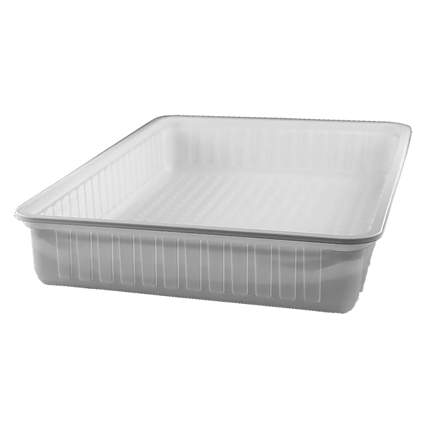 White rectangular plastic food container, 4000 cc - pack of 4 food packages