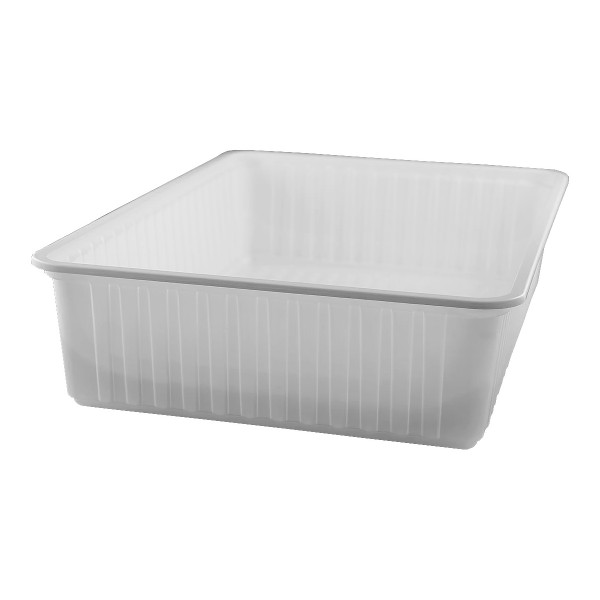 White rectangular plastic food container, 6000 cc - pack of 4 food packages