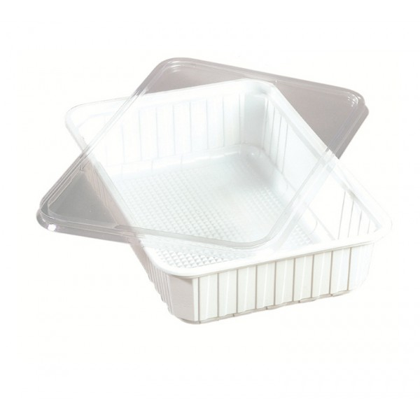 White rectangular plastic food container, 1550 cc - package of 5 food packages