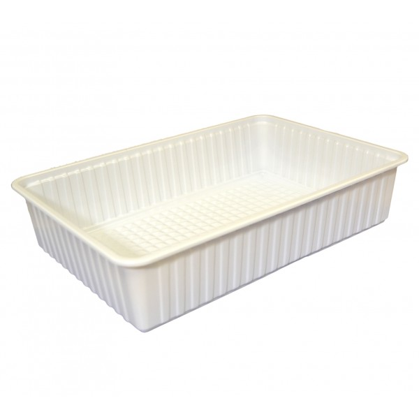White rectangular plastic food container, 6000 cc - package of 4 food packages