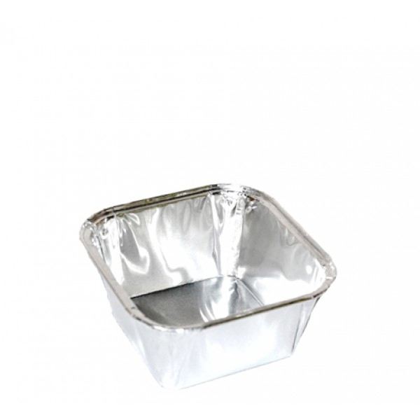 Aluminum square food container, 230 cc - package of 10 food packages