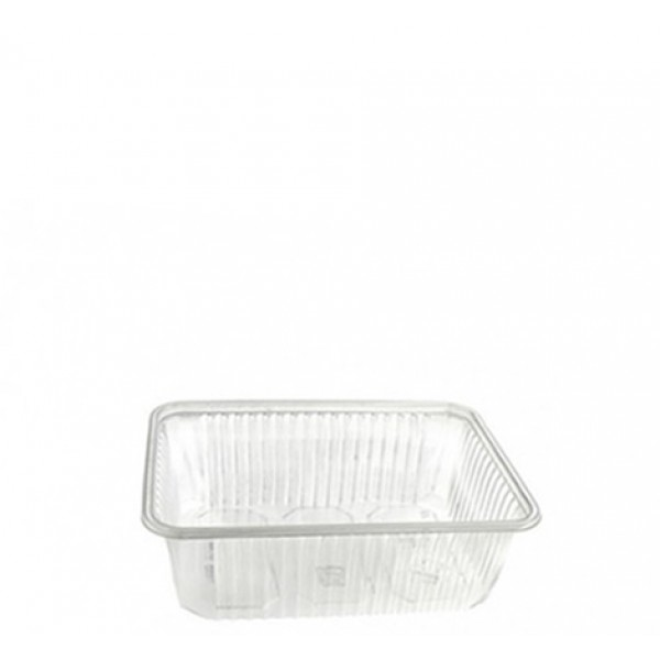 Transparent rectangular plastic food container, 200 cc - package of 20 food packages