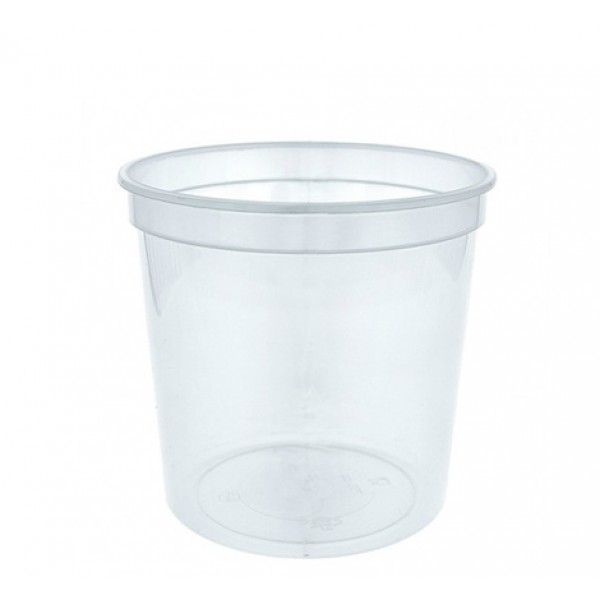 Transparent round plastic food container, 750 cc - package of 10 food packages