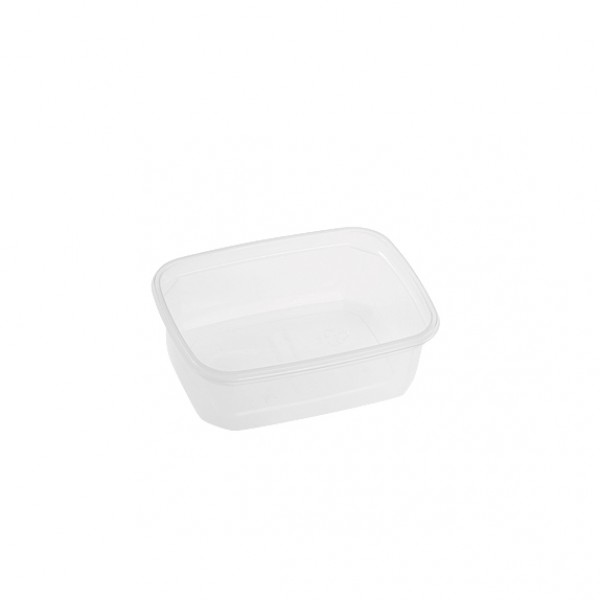 Transparent rectangular plastic food container, 150 cc - pack of 20 food packages