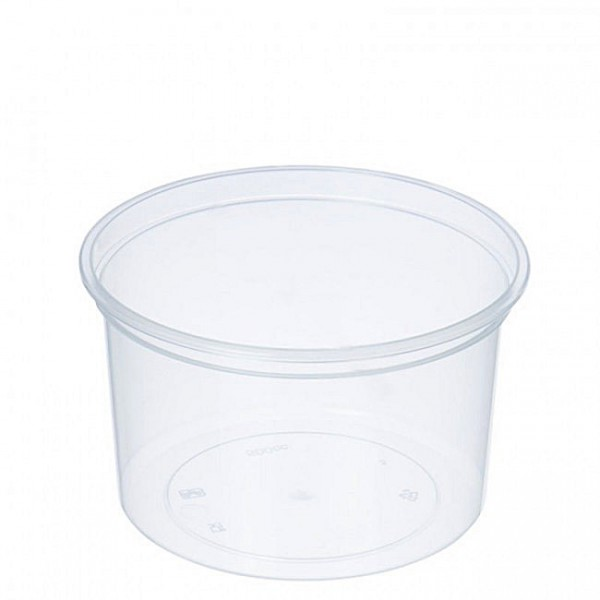 Transparent round plastic food container, 500 cc - pack of 10 food packages with lids