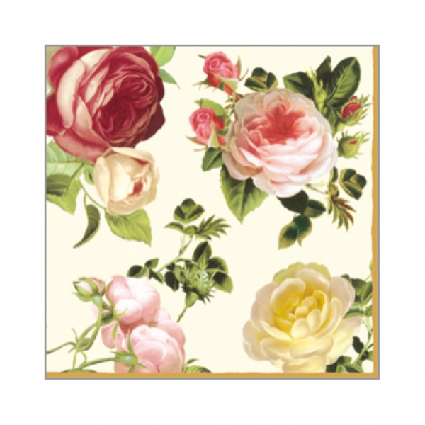 Cocktail napkins with flower print - Rosalia Champagne, 25 cm - package of 20 napkins