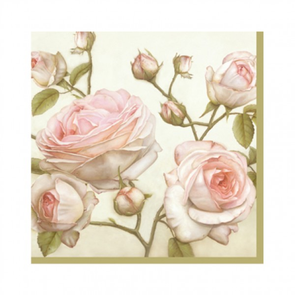 "Floral Print Cocktail Napkins ""Beauty Roses"" (33 x 33 cm) - pack of 20 napkins"