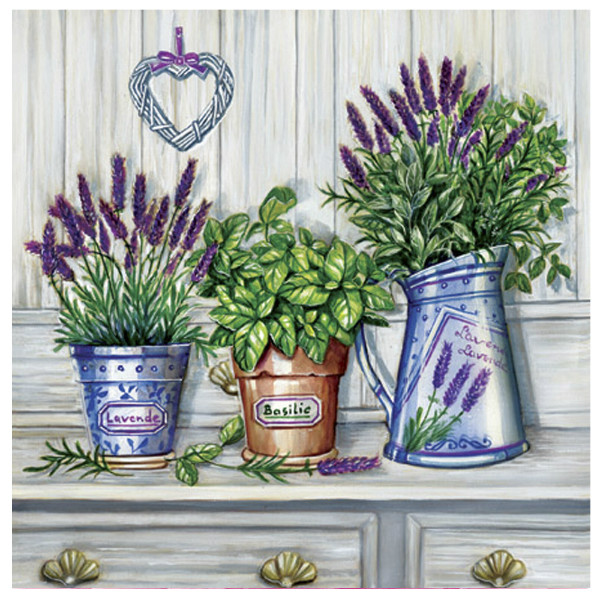 """Napkins with flower pots print - """"Provence Fragrant"""", 33cm - package of 20 napkins"""