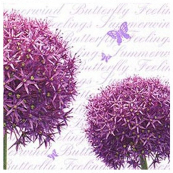 "Napkins with flower print - ""Allium Flowers"", 33cm - package of 20 napkins"