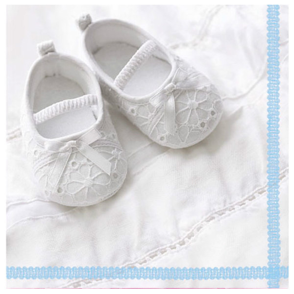 """Napkins with slippers and blue edge - """"Follow Me Blue"""", 33cm - package of 20 napkins"""