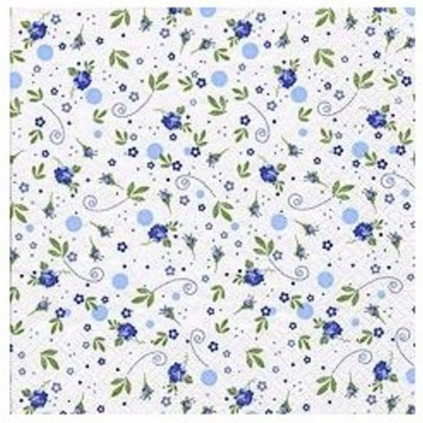"""Napkins with small flowers print - """"Rosali Blue"""", 33cm - package of 20 napkins"""