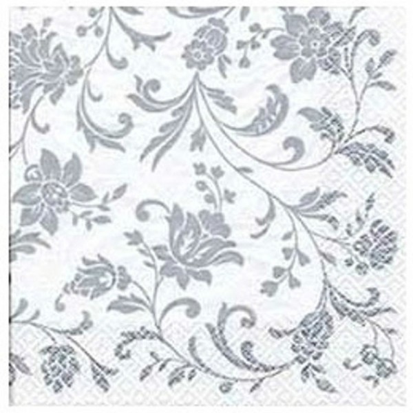 White napkins Arabesque White Silver-White, 33 cm - package of 20 napkins