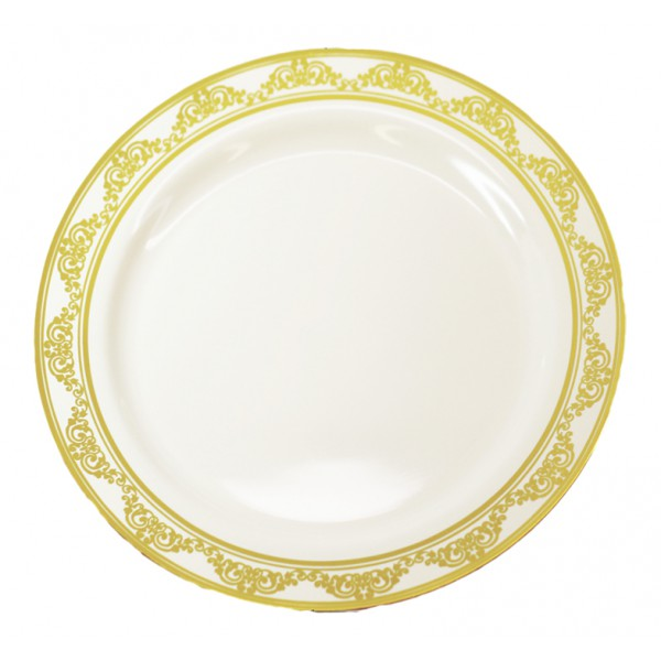 """10"""" White plate with gold ornament - pack of 10 plates"""