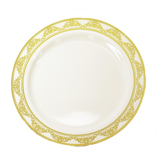 "9"" White plate with gold ornament - pack of 10 plates"