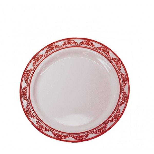 Burgundy plastic plates, 6 - package of 10 plates