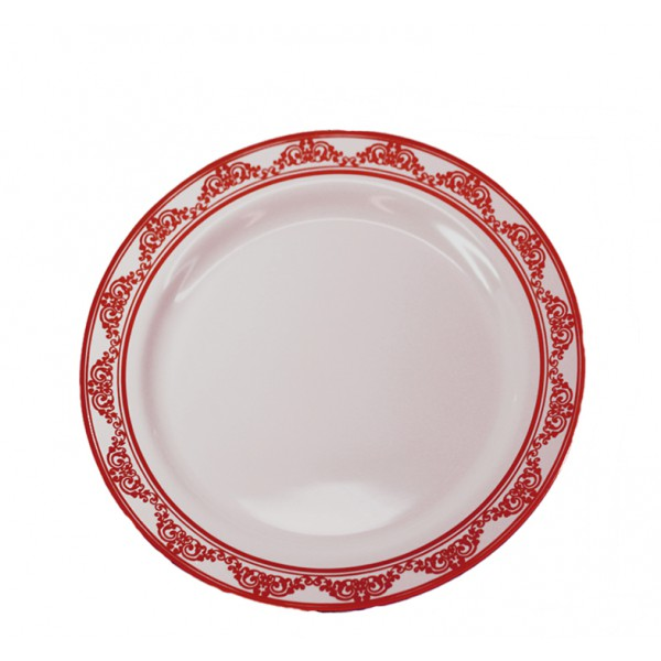 Burgundy plastic plates, 7 - package of 10 plates