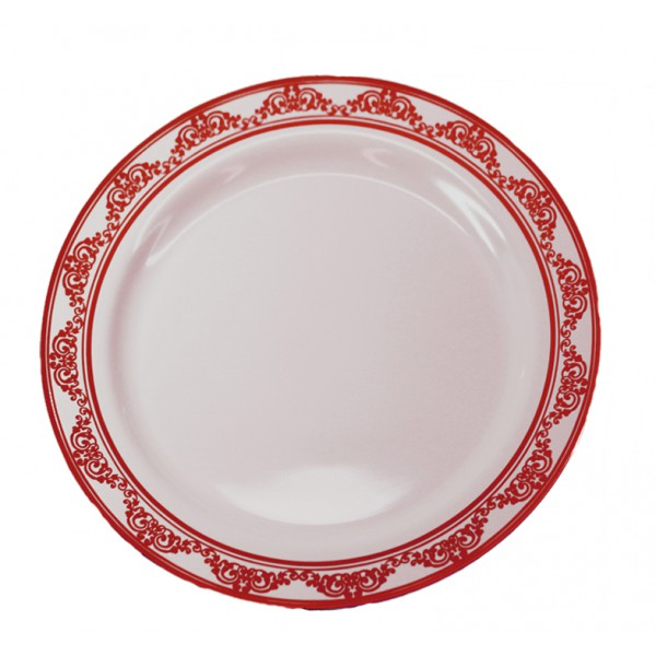 Burgundy plastic plates, 9 - package of 10 plates