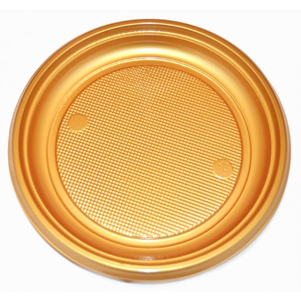 9 Large Gold Plastic Plate