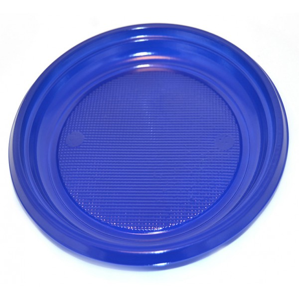 Blue plastic plates, 7 - package of 50 plates