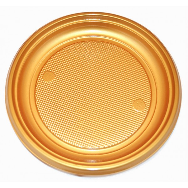 Gold colored plastic plates, 7 - package of 50 plates