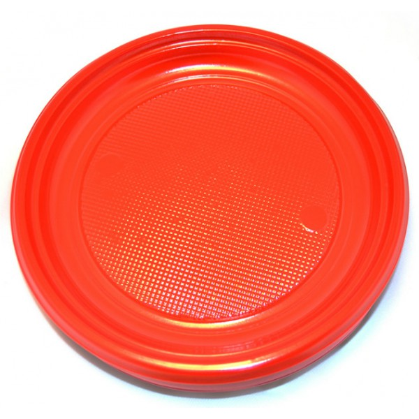 Large red plastic plates, 9 - package of 30 plates