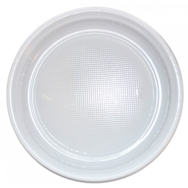 White plastic plates, 22cm - pack of 100 plates