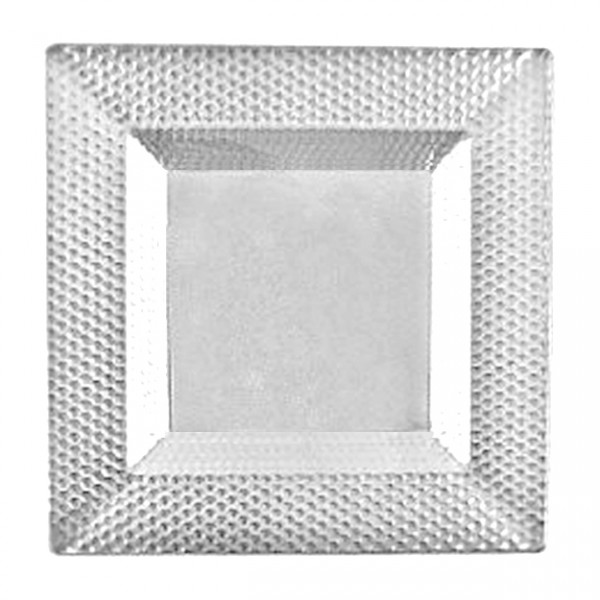Square transparent plastic bowls with reliëf, 12 oz - package of 10 plates