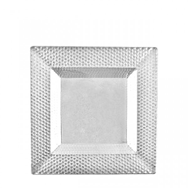 Square transparent plastic bowls with reliëf, 5 oz - package of 10 plates