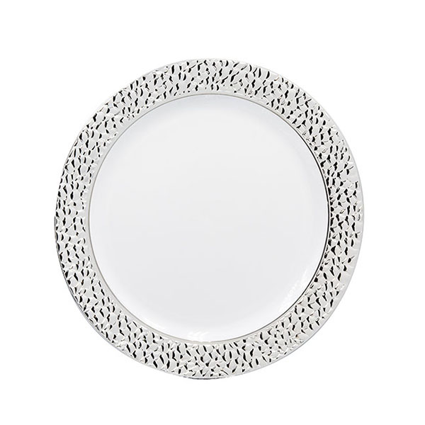 "7"" White plastic plate with silver rim - pack of 10 plates"
