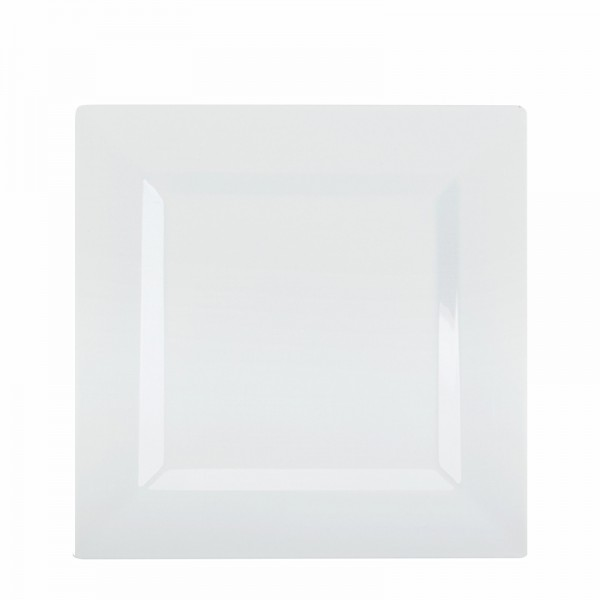 Square white plastic plates, 8 - package of 10 plates