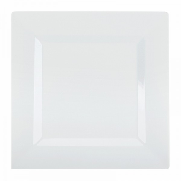 Square white plastic plates, 10 - package of 10 plates