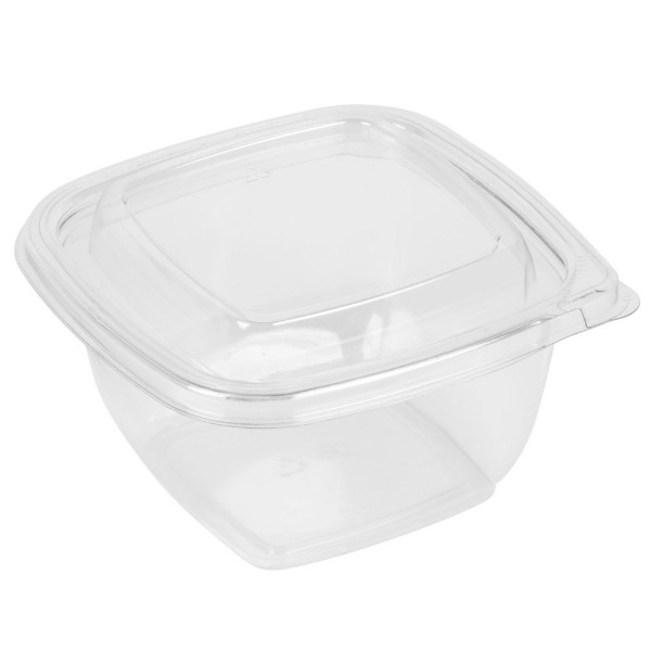 Plastic square salad bowl incl lid, 500 ml
