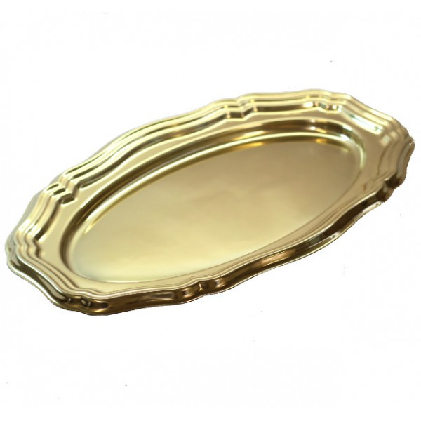 Oval gold colored hard plastic tray, 400 mm - package of 1 tray