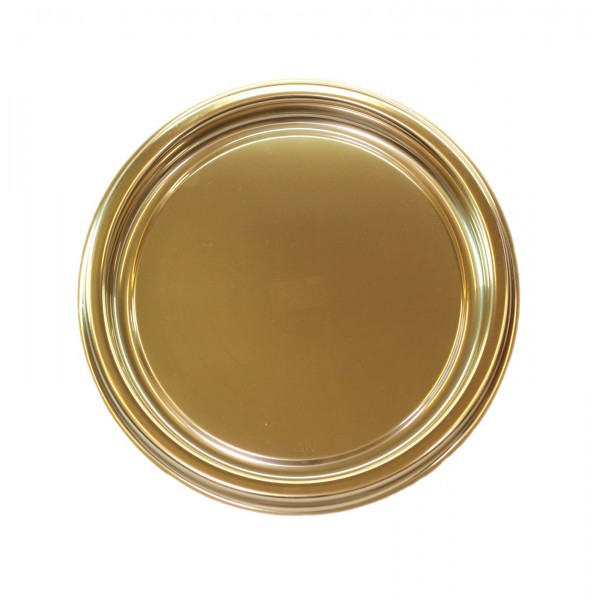 Round gold colored hard plastic tray, 300 mm - package of 1 tray