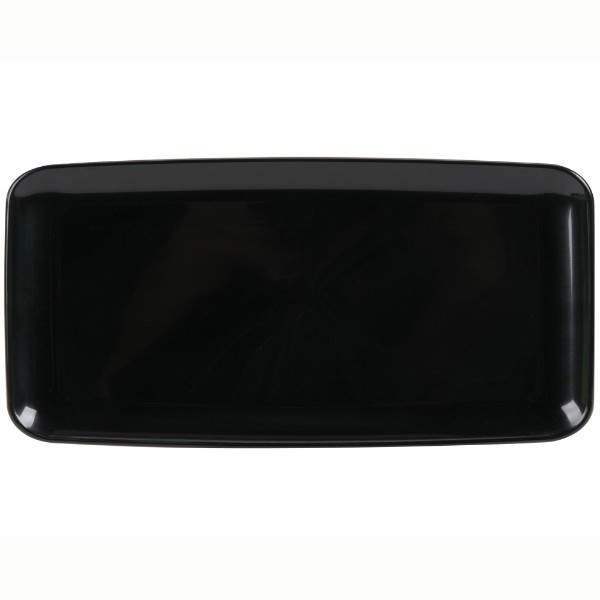 Rectangular black hard plastic tray, 350x160 mm - package of 1 tray