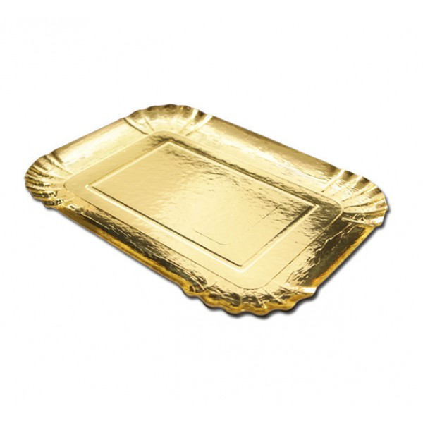 Rectangular gold platter - package of 1 tray