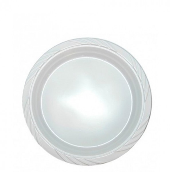 White plastic plates, 7 - package of 100 plates