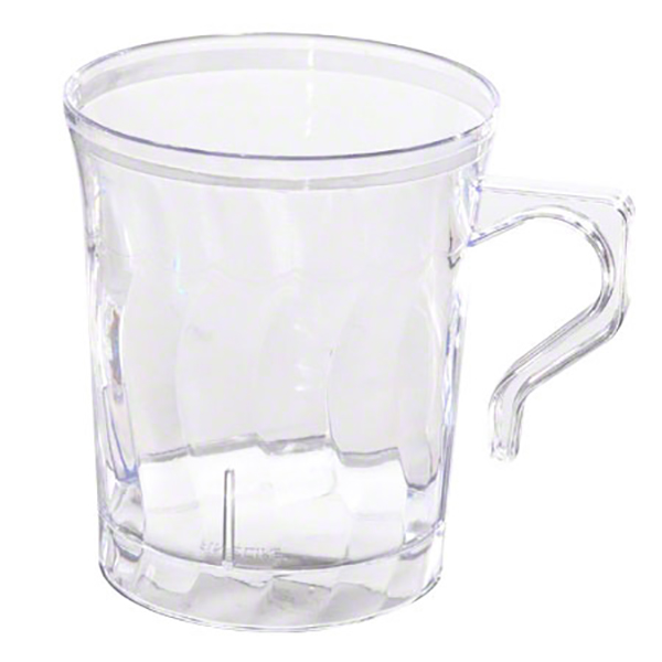 Clear rigid plastic coffee cups with knob, 8 oz - pack of 8 cups