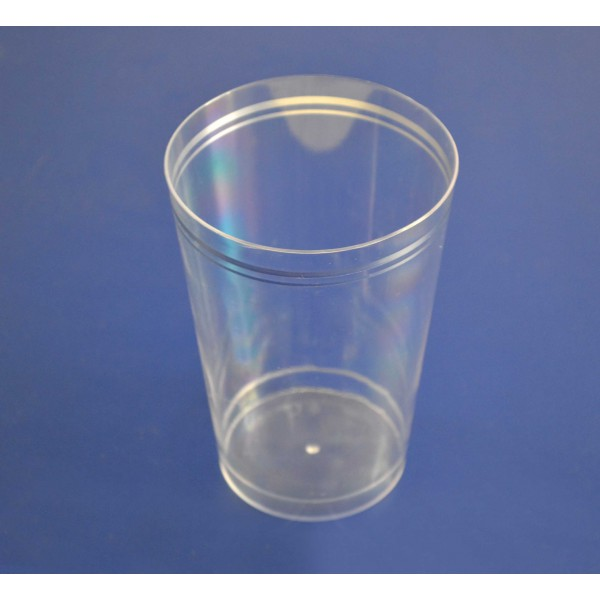 Transparent plastic rigid cups with crystal silver lines, 350 ml - package of 12 cups