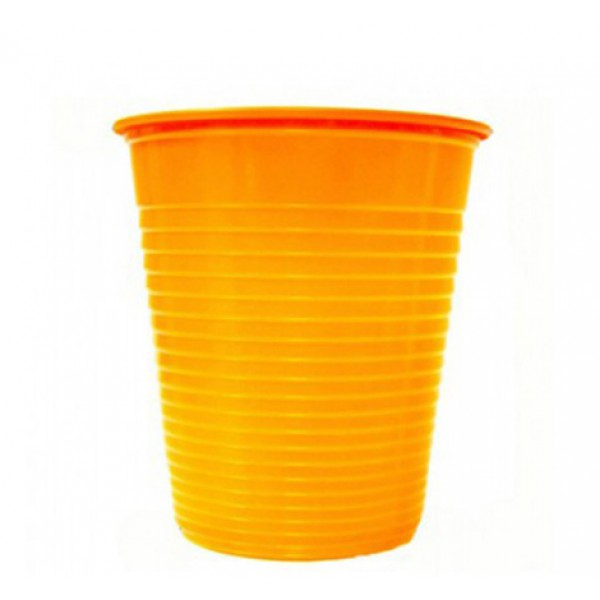 Plastic orange cups, 200 cc - package of 50 cups