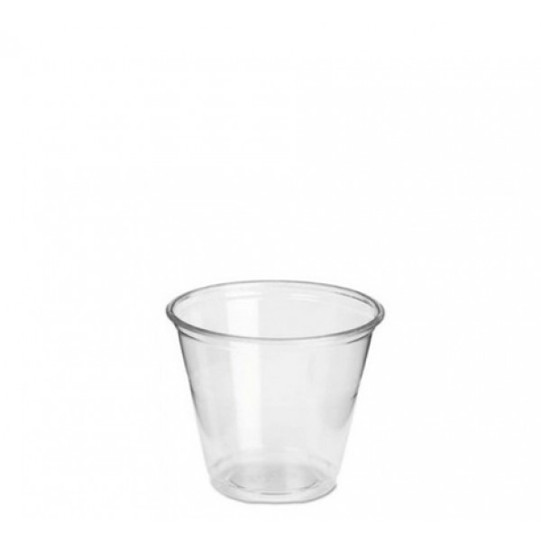 Transparent round plastic rigid whiskey cups, 1 oz - package of 50 cups
